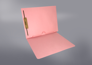 Pink Color File Folders, Full Cut End Tab, Letter Size, Full Back Pocket, Single Fastener (Box of 50)
