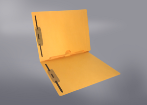 Gold Color File Folders, Full Cut End Tab, Letter Size, Full Back Pocket, Double Fastener (Box of 50)