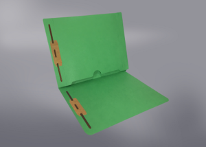 Green Color File Folders, Full Cut End Tab, Letter Size, Full Back Pocket, Double Fastener (Box of 50)