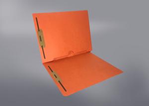 Orange Color File Folders, Full Cut End Tab, Letter Size, Full Back Pocket, Double Fastener (Box of 50)