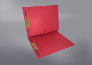 Red Color File Folders, Full Cut End Tab, Letter Size, Full Back Pocket, Double Fastener (Box of 50)