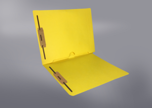 Yellow Color File Folders, Full Cut End Tab, Letter Size, Full Back Pocket, Double Fastener (Box of 50)