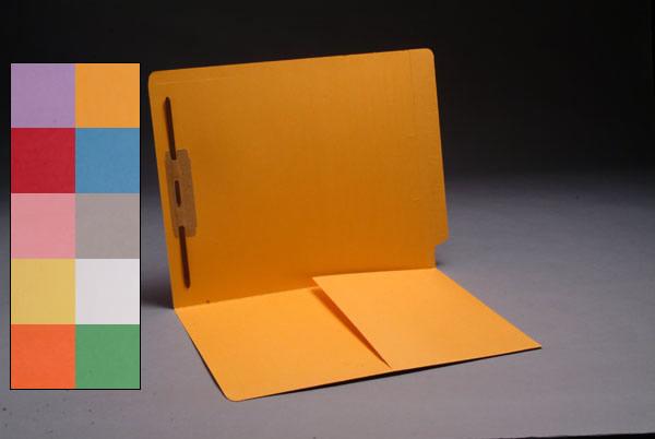 Color File Folders, Full Cut End Tab, Heavy Duty Letter Size, 1/2 Pocket Inside Front, Single Fastener (Box of 50)