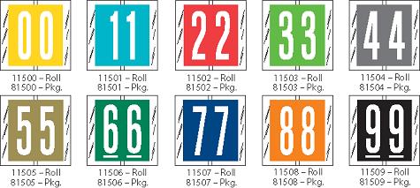 Tabbies 81500 Col R Tab Numeric Labels Qty 100