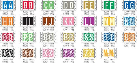 Tabbies 82000 Col R Tab Alpha Labels Qty 100